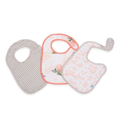 Little Unicorn Bib Set in Watercolor Rose Classic - Rose 3pc