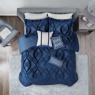 King 7pc Morgan Velvet Comforter Set Navy