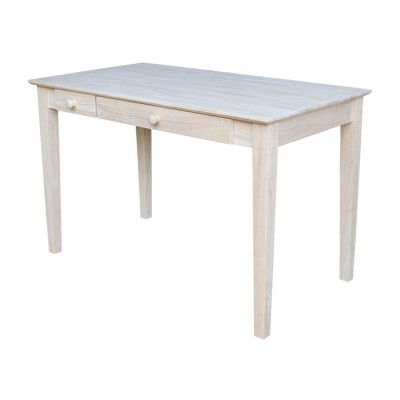 Computer Desk with Flip Down Drawer Unfinished Wood - International Concepts