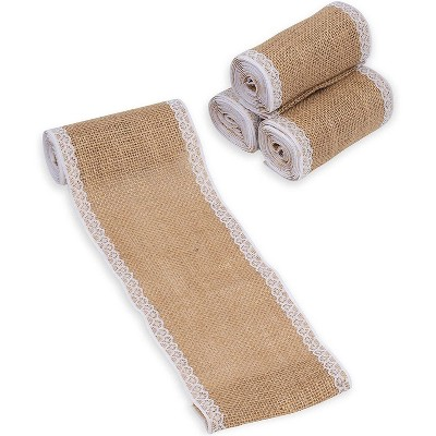 """Genie Crafts 4-Pack Brown Burlap Ribbon Roll with Lace Trim 4.88"""" x 2 Yard  for Crafts, Sewing, Decorations"""