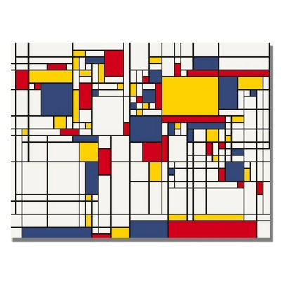 "22"" x 32"" Mondrian World Map by Michael Tompsett - Trademark Fine Art"