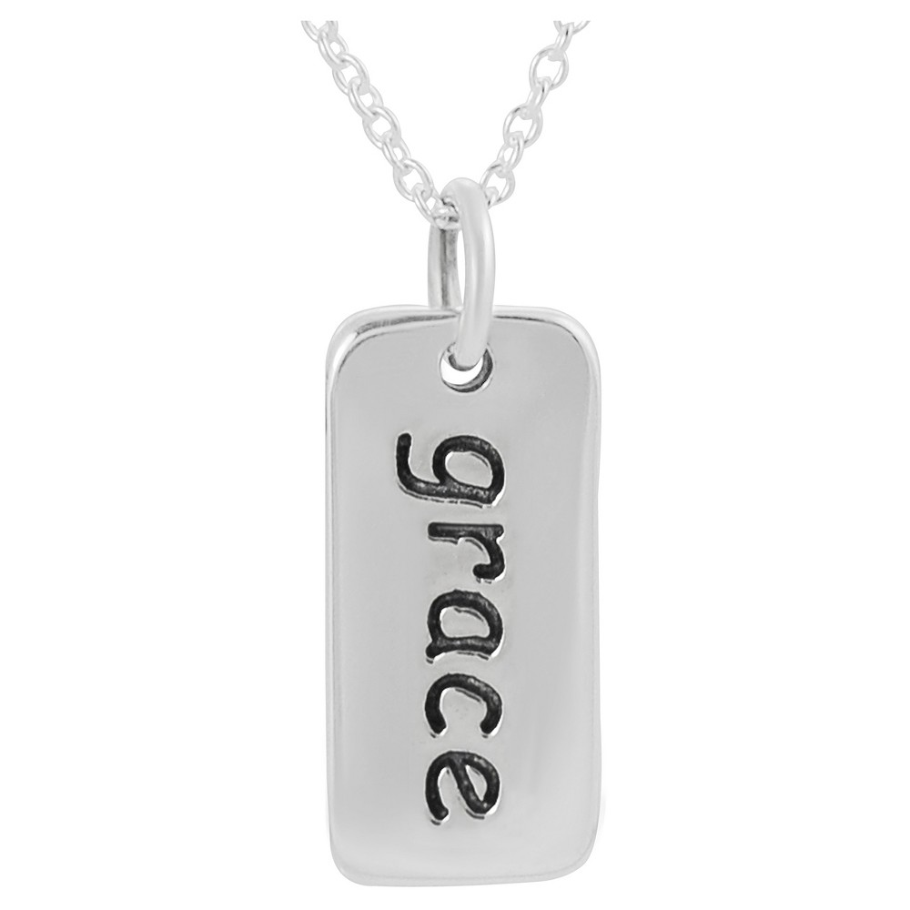 Women's Journee Collection Grace Tag Pendant Necklace in Sterling Silver - Silver (18)