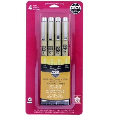 Sakura Pigma Micron 003/005 Pens, Black and Sepia, set of 4