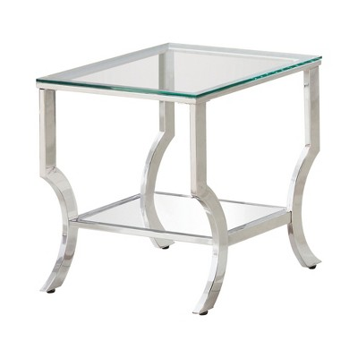 Coaster Home Furnishings Contemporary Home Living Room Square End Table with Mirrored Shelf and Tempered Glass Table Top, Chrome
