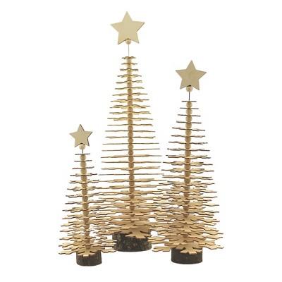 "Christmas 15.5"" Layered Wood Trees Set/3 Winter Holiday Star  -  Decorative Figurines"
