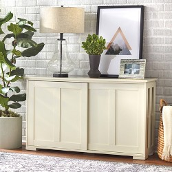 Pacific Stackable Sliding Wooden Doors Cabinet Off White - Buylateral