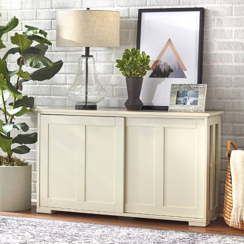 Pacific Stackable Sliding Wooden Doors Cabinet Off White - Buylateral - image 1 of 4
