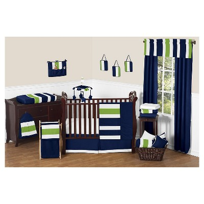 sweet jojo designs navy blue lime green stripe baby bedding