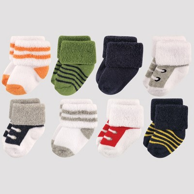 Luvable Friends Baby Boys' 8pk Socks, Athletic - Blue 0-6M
