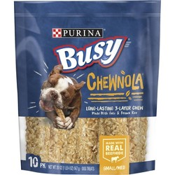 Purina Busy Rawhide Small/Medium Breed Dog Bones Chewnola With Oats & Brown Rice - 10ct Pouch