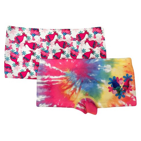 Girls' Trolls Boy Shorts - Pink/Rainbow Tie Dye - image 1 of 1