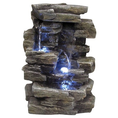 Alpine Corporation 13  Cascading Tabletop Fountain With LED Lights - Brown