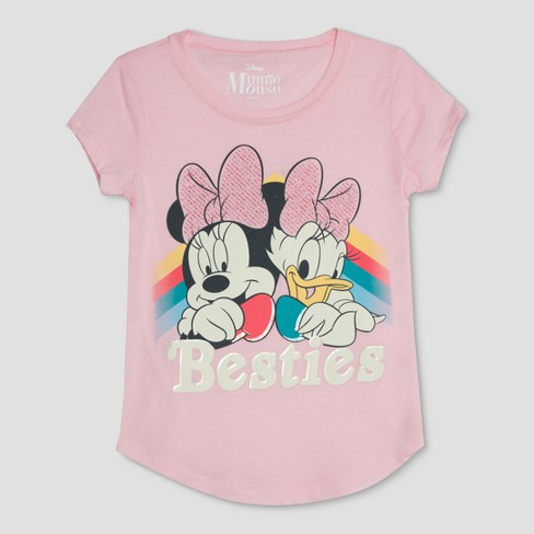 Girls' Disney Minnie Mouse And Daisy 'Besties' Short Sleeve T-Shirt - Pink - image 1 of 2