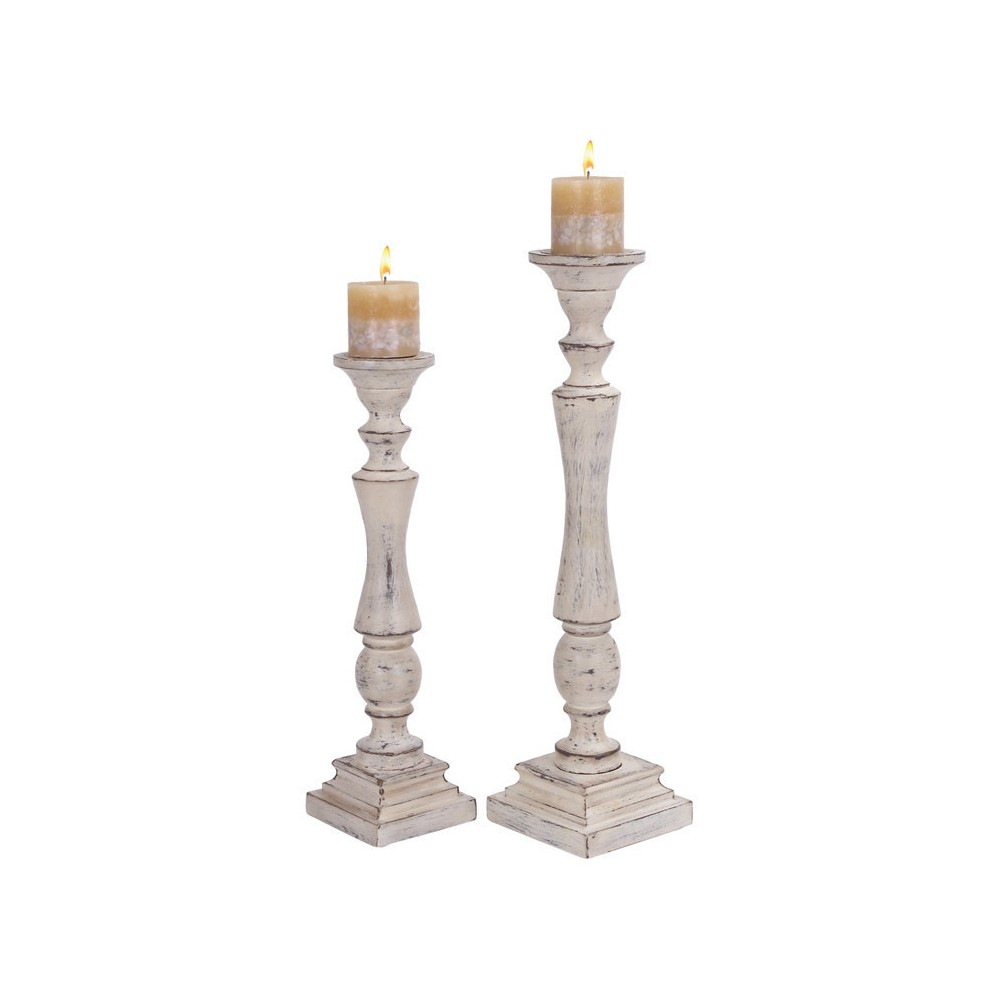 Traditional Wood Candle Holder Set 2ct - Olivia & May, White