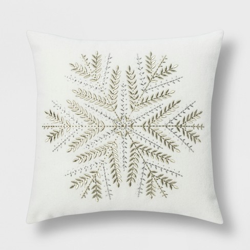 Snowflake Square Throw Pillow Cream/Silver - Threshold™ - image 1 of 3