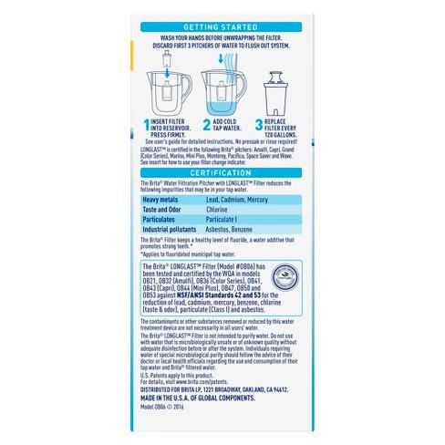 Brita Longlast Pitcher Replacement Filter Bpa Free 120gal 2pk Target