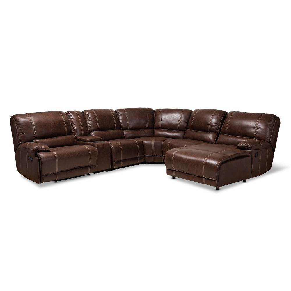 Salomo Faux Leather Upholstered 6 Piece Sectional Recliner Sofa Brown - BaxtonStudio