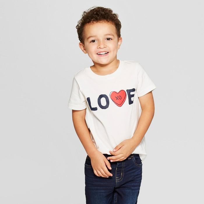 Toddler Boys' Love Short Sleeve T-Shirt - Cat & Jack™ Cream - image 1 of 3