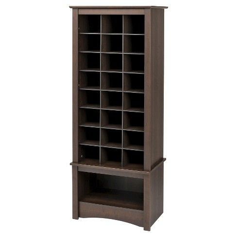 Tall Shoe Cubbie Cabinet Espresso