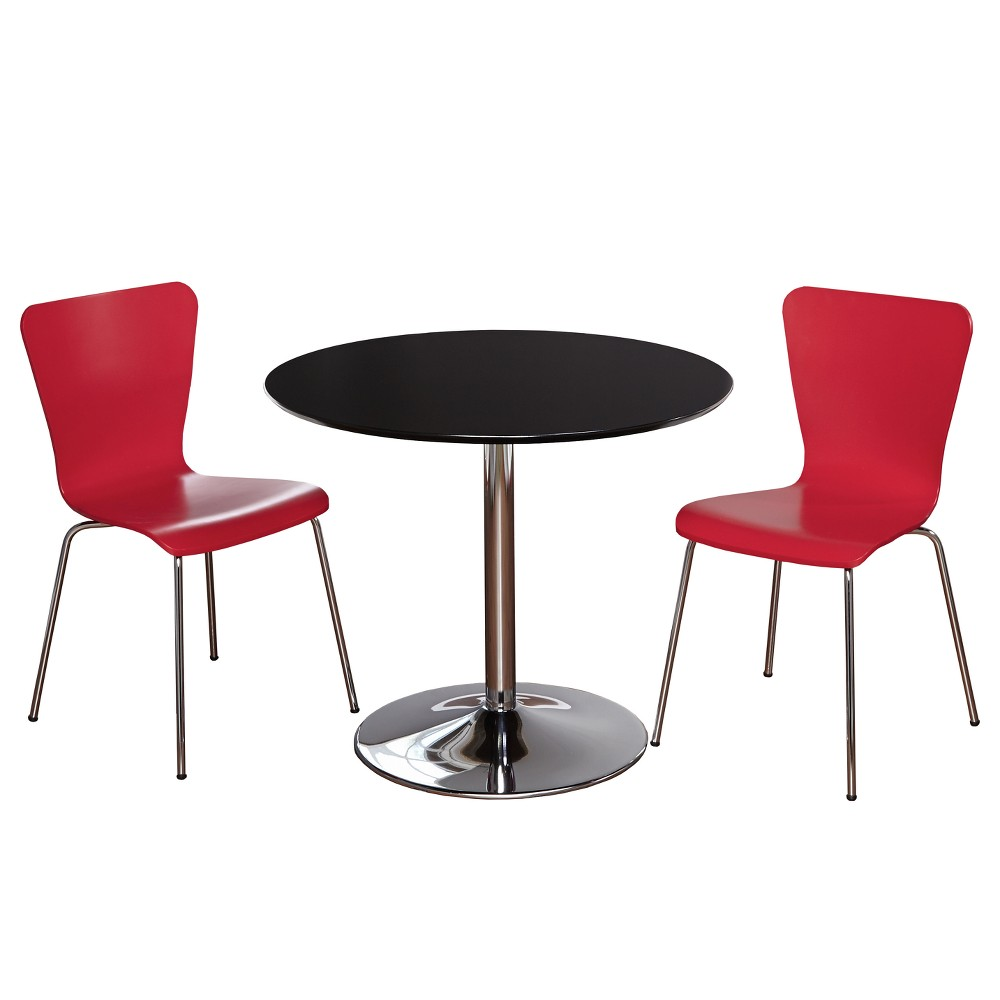 3pc Hillboro Dining Set - Black/Red - Buylateral