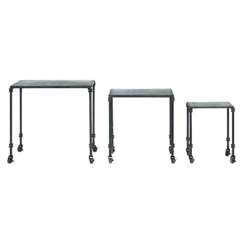 Distressed Metal Table Set with Wheels - Brown - image 1 of 2