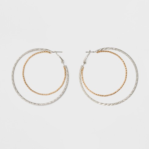 Two Row Textured Hoop Earrings - image 1 of 2