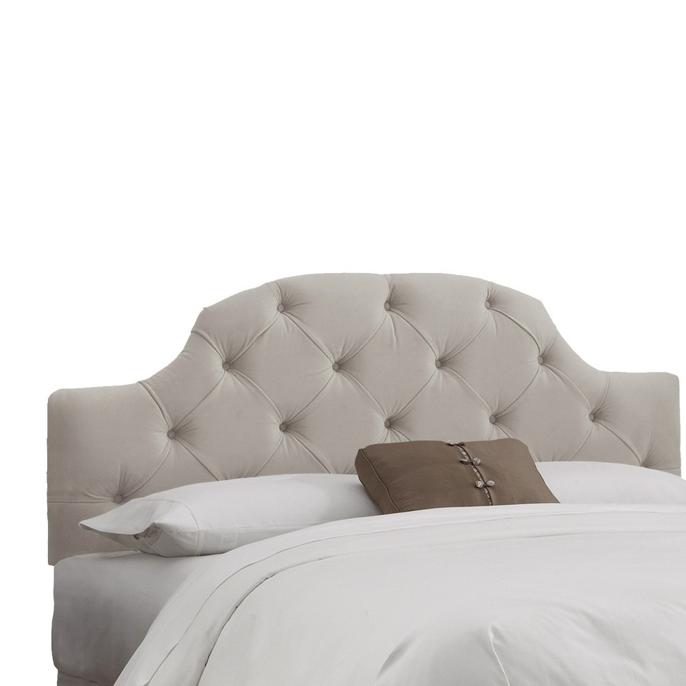 Queen Upholstered Curved Tufted Headboard Velvet Light Gray - Skyline Furniture