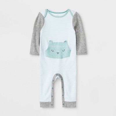 Baby Boutique Long Sleeve Rompers - Cloud Island™ Turquoise Newborn