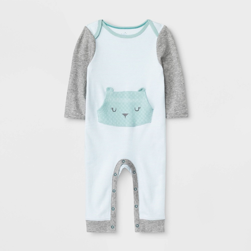 Image of Baby Boutique Long Sleeve Rompers - Cloud Island Turquoise 0-3M, Kids Unisex, Blue