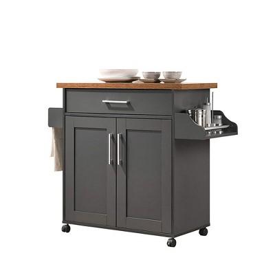 Hodedah Wheeled Kitchen Island Cart with Spice Rack and Towel Holder, Gray/Oak