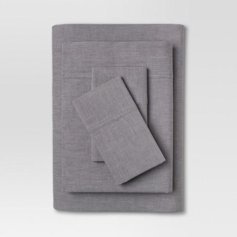 Full Vintage Washed Chambray Sheet Set Hot Coffee - Threshold™ - image 1 of 1