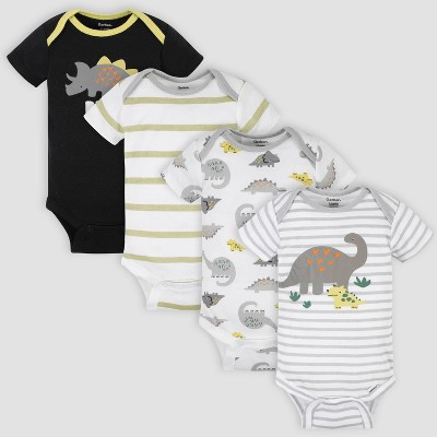 Gerber Baby Boys' 4pk Dino Short Sleeve Onesies - White/Gray