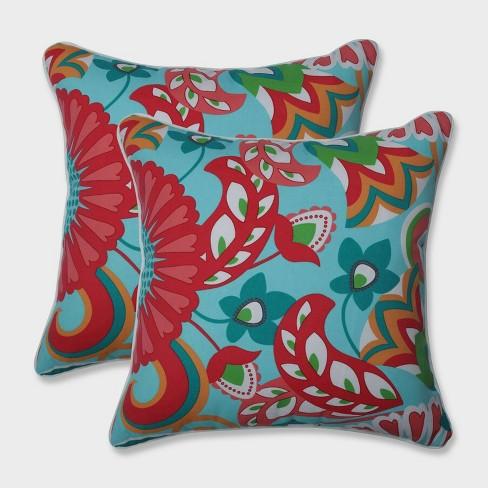 """18.5"""" 2pk Sophia Throw Pillows Green - Pillow Perfect - image 1 of 1"""