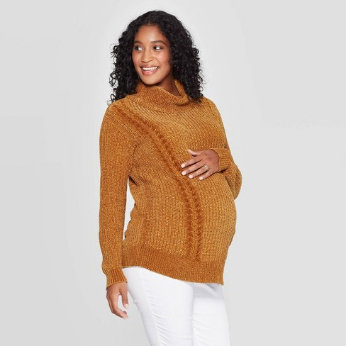 Maternity Chenille Pullover Sweater Isabel Maternity by Ingrid & Isabel™ Gold XS