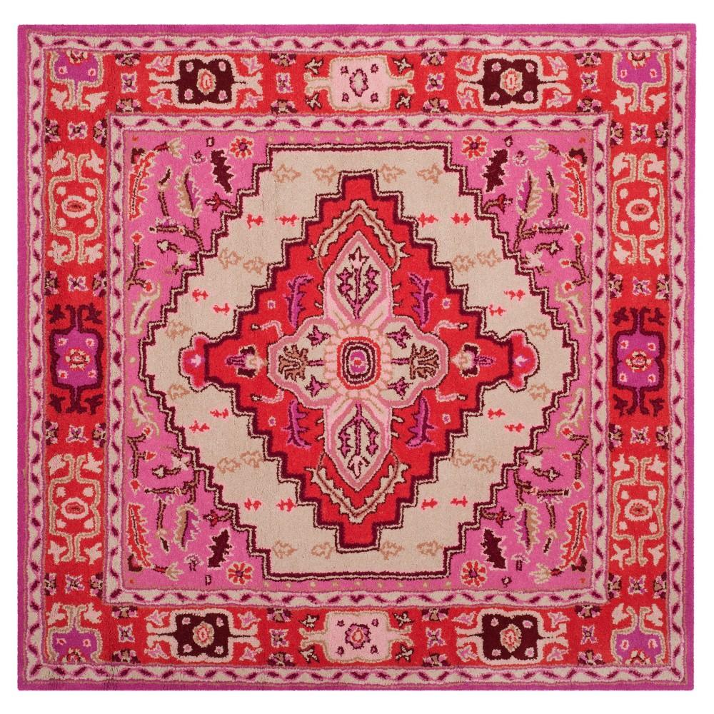 Ivory Medallion Tufted Square Area Rug 5'x5' - Safavieh, Pink White