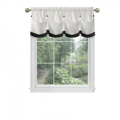 Kate Aurora Country Farmhouse Living Solid Colored Button Tuck Window Valance