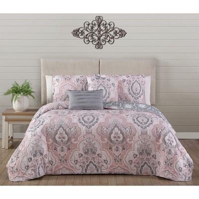 King 5pc Odette Quilt Set Blush - Avondale Manor