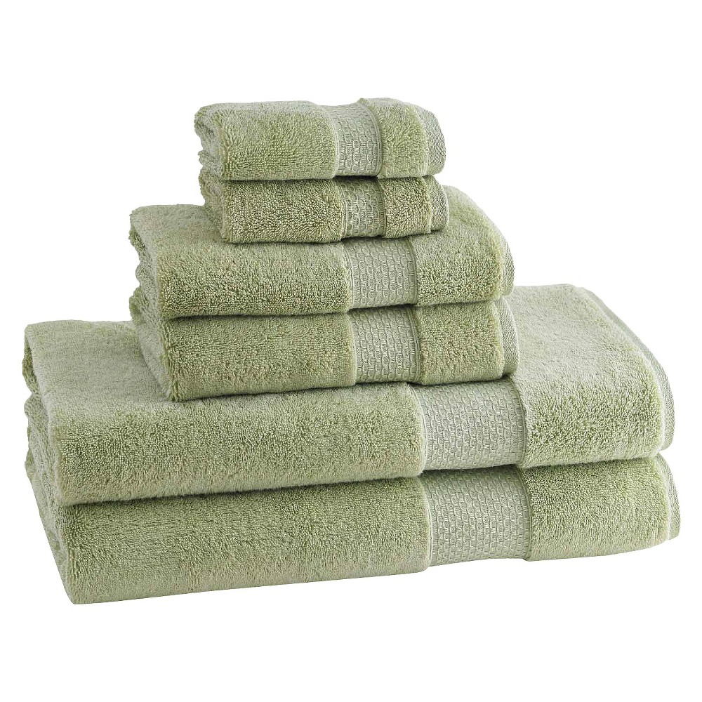 Kassatex Elegance Turkish Cotton 6pc Towel Set - Thyme (Green)