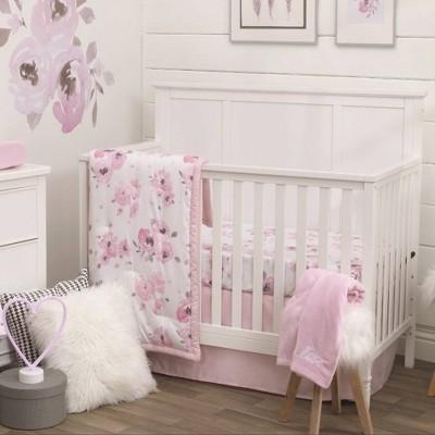 NoJo Watercolor Floral Nursery Crib Bedding Set - 4pc