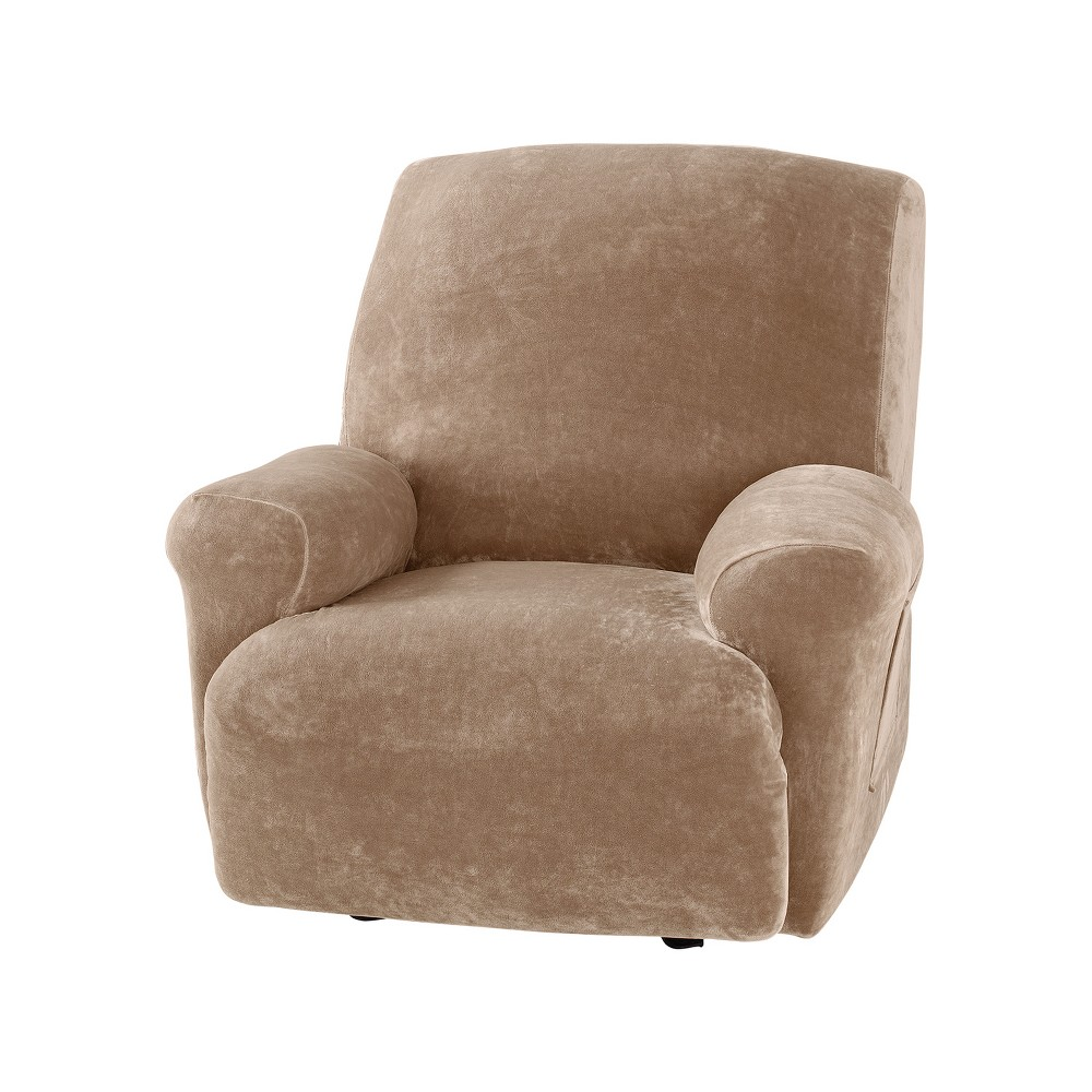 Stretch Plush Recliner Slipcover Brown - Sure Fit