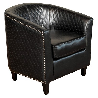 Mia Quilted Club Chair Black - Christopher Knight Home