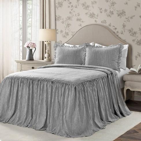 King 3pc Ticking Stripe Bedspread Set, Black Ticking Stripe Bedding