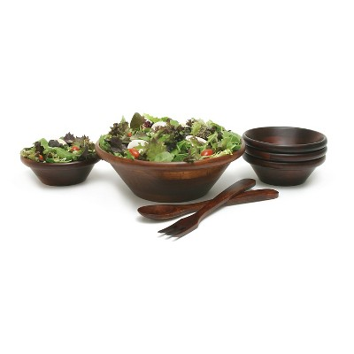 Lipper International Cherry Finished Salad Set with 12in Servers - 7-pc