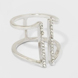 Rhinestone Bar Ring - A New Day™ Silver
