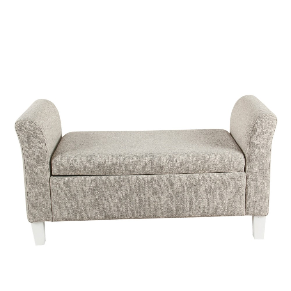 Kids Storage Bench Settee Textured Stain Resistant Gray - HomePop
