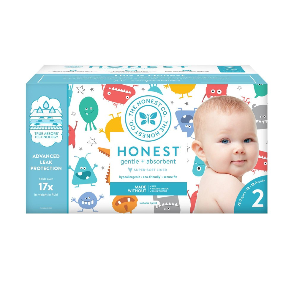 Honest Company Mini Monsters Club Pack Diapers - Size 2 (76ct), Multicolored