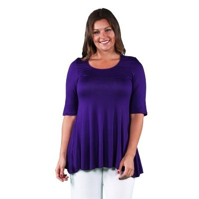 24seven Comfort Apparel Women's Plus Elbow Tunic Top