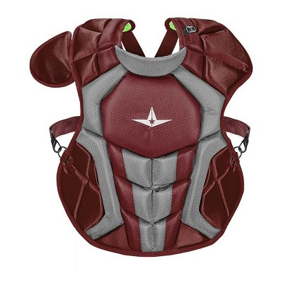 All-Star Sports S7 Axis  Age 9-12 SEI Certified 14.5 Inch Baseball Softball Catcher Chest Protector with Shoulder and Throat Molded PE Plates, Magenta