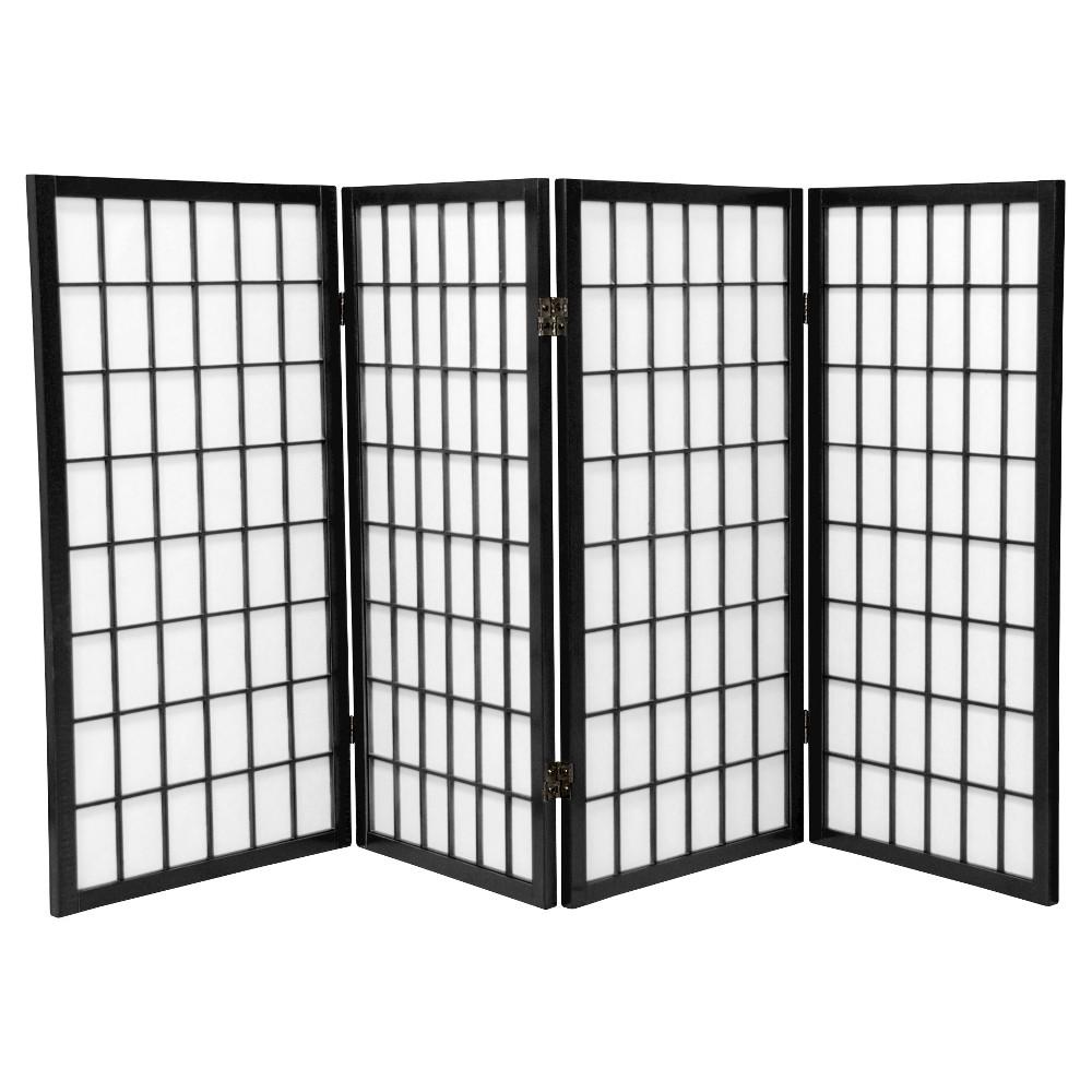 Image of 3 ft. Tall Window Pane Shoji Screen - Black (4 Panels) - Oriental Furniture