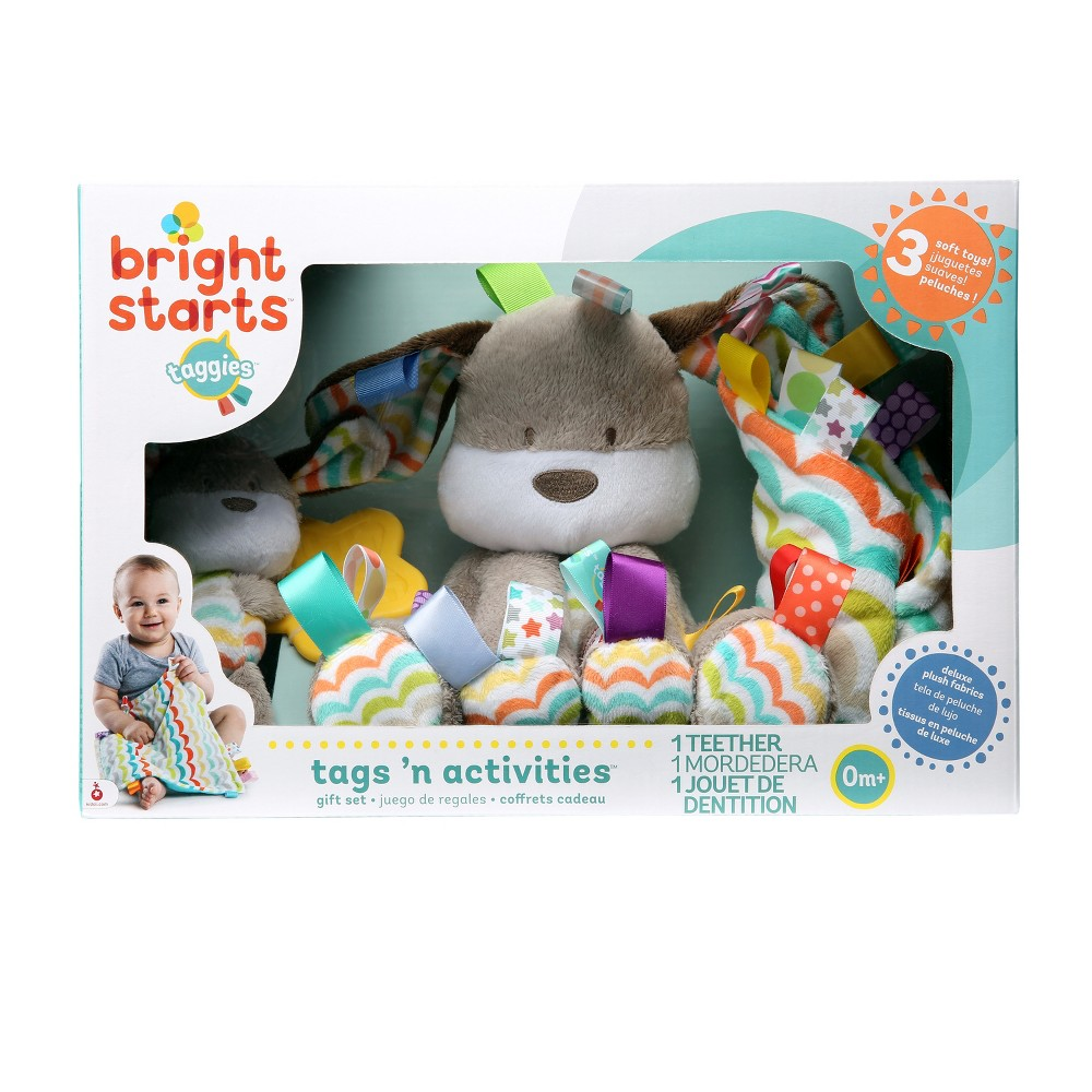 Bright Starts Taggies Plush Gift Set Fun Comes First! The Baby's First Taggies Set from Bright Starts is a curation of amazing Taggies toys that are as engaging as they are calming. Gender: unisex.